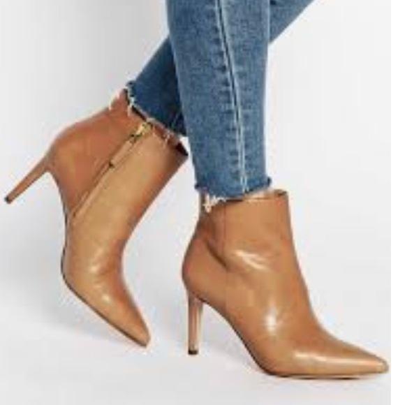 Sam Edelman Karen Suede Ankle Bootie Pointed Toe Stiletto Heel Pink Size 7.5